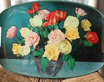 Green Vintage Rose Pop Art Tray