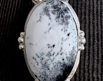 Dendrite Opal Victorian Style Pendant