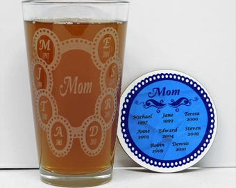Mom Est Gift Set, Mothers Day Gift, Mothers Birthday Gift, Mom Gift, Custom Mom Gift, Personalized Mothers Day Gift, Mom Glass coaster set