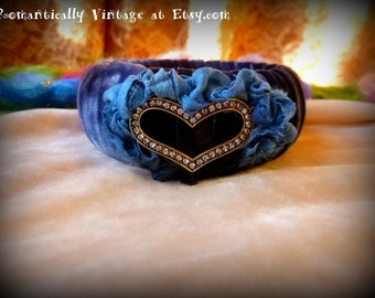 Bracelet, Wrapped, Crystal, Heart, Handmade, Art, Shabby Chic, Bangle, Gift, Accessories, Rustic, Victorian, Jewelry