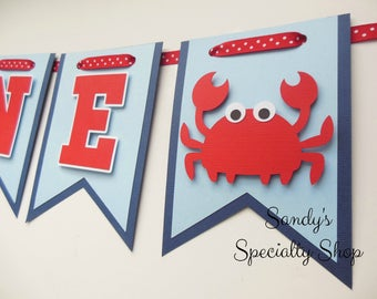 Lil' Crab - Nautical - Highchair Banner - Navy Blue, Baby Blue, Red and White