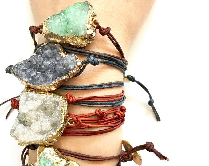 Featured listing image: Stone and Leather Wrap Bracelets