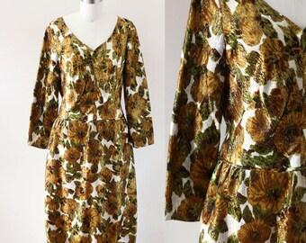 1960s copper floral  dress // 1960s gown // vintage dress