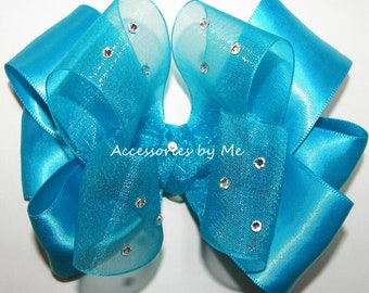 Pageant Hair Bow, Turquoise Blue Clip, Organza Satin 4 Inch Clips, Embellished Barrettes, Flower Girls Bows, Toddler Barrettes, FREE US Ship