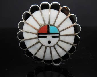 Sterling Silver Native American Flower Brooch Onyx Mother Of Pearl Turquoise Coral Inlay 925 Jewelry