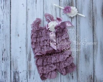 Antique Rose Embelished Lace Romper & Headband Set- First Birthday Outfit- Petti Romper- Cake Smash Outfit- Newborn Petti Romper- Headband