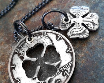 1977 40th Birthday Four Leaf Clover Half Dollar Necklace 40th Anniversary St Patricks Day Irish Birthday Gift Coin Jewelry