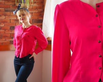 80s fuschia pink blouse with bow cute vintage blouse buttons size 10-12 UK