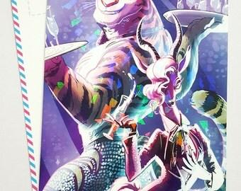 ZOOTOPIA Gazelle and Glitter Tiger Dancer Sparkly Prism Postcard / Art Print.