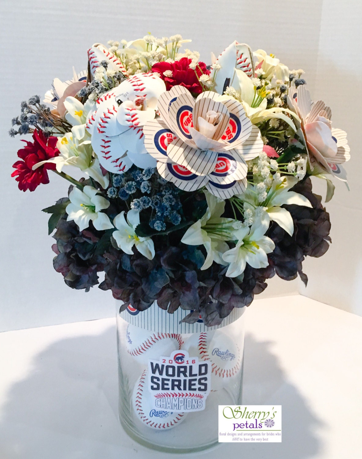 Chicago Cubs Baseball Rose Flower Arrangement Team Rose