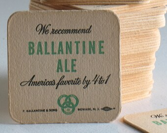 Vintage Ballantine Ale coasters set of five / NOS retro beer coasters / Newark NJ Beer / 1960s beer collectibles