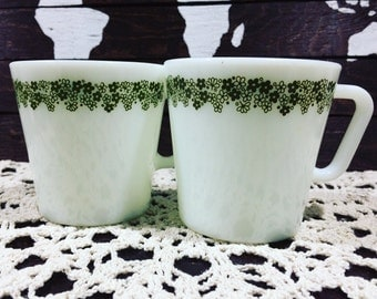 Set of two Vintage Pyrex Mugs - Spring Blossom Green