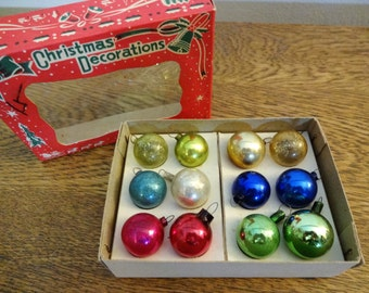 Vintage Miniature Christmas Ornaments - Box of 12 - Made in Japan - Multicolor - Small Mercury Glass Ornaments - Feather Tree Ornaments