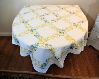 Vintage Mid Century Tablecloth - Linen or Linen Blend - Pretty Spring Floral - Turquoise - Yellow - Olive Green - Cottage -Farmhouse Kitchen