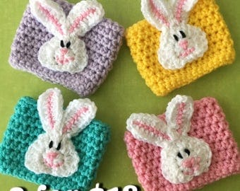 TWO Easter Bunny Coffee Cozies