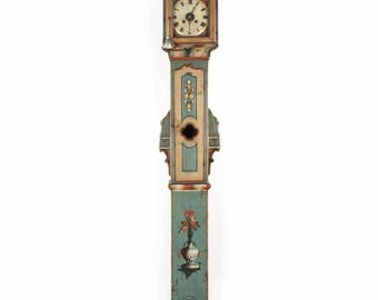 Fine Austrian/Swedish Painted Folk Art Antique Tall Case Clock, 19th century
