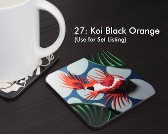 Koi Black Orange Coaster (#27)