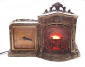 HOLD 1930s Fireplace Clock Motion Lamp - Animated Flickering Flames United Clock Corp - Kitsch Mantel Table Lamp - Vintage Home Decor