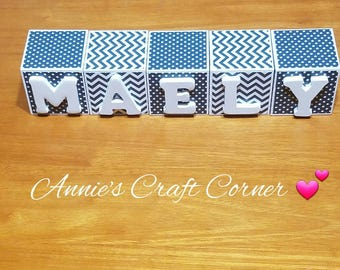 personalized name blocks navy blue and white 2 inch name wooden letters for baby nursery newborn maternity belly photo prop or shower gift