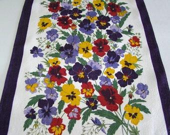 Vintage Ulster Irish Linen Tea Towel, Brilliant Colorful Pansies, 18 x 27
