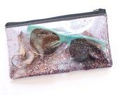 Glitter party / Small pouch, Transparent handbag, Clear bag, Purse organizer, Glitter pouch, Zipper pouch
