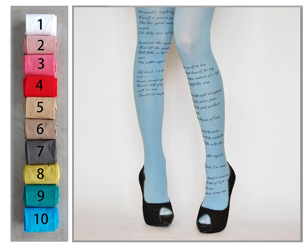 EMILY DICKINSON Poem Printed Tights Poetry Fashion Tights