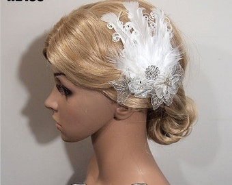 SALE Bridal Hair Comb, Wedding Hair Comb, Lace Wedding Comb, Feather Fascinator, Bridal Headpiece, Wedding Headpiece, White Feather Hair Com