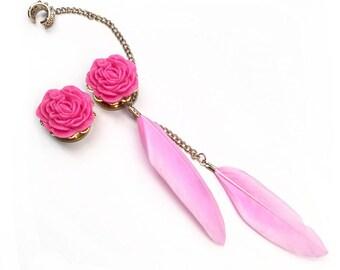 SALE 14mm Pink Flower Feather Ear Cuff Ear Plugs