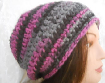 SLOUCHY-BEANIE-Tam-Hippie-Hat-Boho-Crochet-Skier-Skater-Color-Black Raspberry-Variegated Shades of Pink-Grey-Black