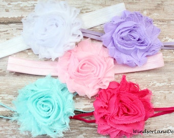 Set of 5 Baby Headbands - Shabby Flower Headband Set - Vintage Baby Headbands - White, Pink, Lavender, Aqua - Baby Gift Set