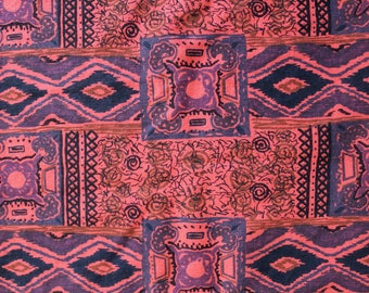 Vintage Fabric- 1960s Cotton Fabric: Red, Gray, and Black Paisley Print Cotton 1.38 Yards