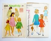 Lot 2 Vintage Girls Dress Sewing Patterns, One Piece Dress with Simulated Smocking, Drop Waist with Box Pleats, Simplicity 6334, 5687 Size 4