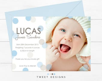 Polka Dot Birth Announcement, Blue Polka Dot Birth Announcement, Blue Birth Announcement, Boy Birth Announcement, New Baby, Baby Boy