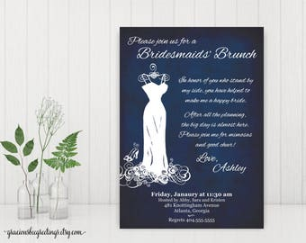 Bridesmaid Luncheon Invitation, Bridesmaid Brunch Invitation, Bridal Party Lunch, Bridesmaids Tea, digital, printable, BW1476