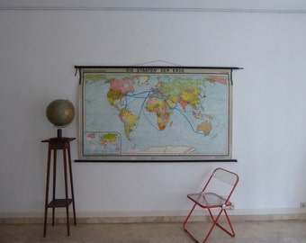 Large Vintage World Map - School Map with Soviet Union - Large School Wall Map of Earth 1968