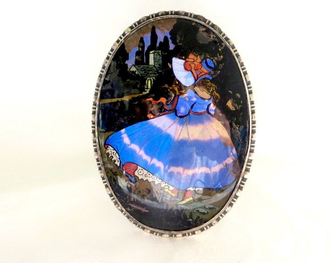 Antique Butterfly Wing Portrait, Reverse Painting, Sterling Silver Frame, Birmingham England, Excellent Condition