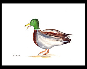 SALE Duck painting duck art farm animal art duck illustration Nursery art green and grey duck 12 x 9 inch