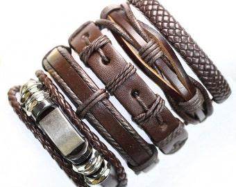 Handmade Brown Metal Genuine Leather Bracelet.
