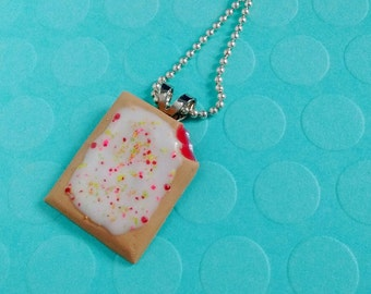 Strawberry Pop Tart w/ Rainbow Sprinkles Pendant Necklace - Handmade Mini Food Dessert Candy Jewelry - Breakfast Collection