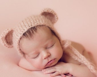 Newborn bear – Baby props – Newborn girl – Photo props – Baby girl bear – Newborn hat – Newborn props – Baby girl props - Bear hat -Ears hat