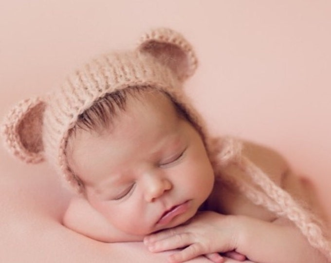 Featured listing image: Newborn bear – Baby props – Newborn girl – Photo props – Baby girl bear – Newborn hat – Newborn props – Baby girl props - Bear hat -Ears hat