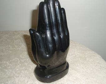 Black Praying Hands, Ceramic Praying Hands, 7 inch praying hands display, Religious symbol, collectible hands