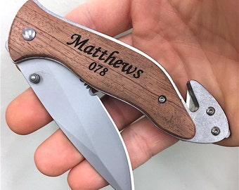 Gifts For Police Officers, Personalized Engraved Police Officer Knife with Seatbelt Cutter & Glass breaker, Gifts for Firemen, Custom Knife