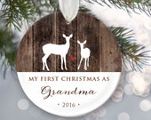 My First Christmas as Grandma or My First Christmas as Grandpa Personalized Christmas Ornament Grandparent Deer Ornament, Faux wood OR331