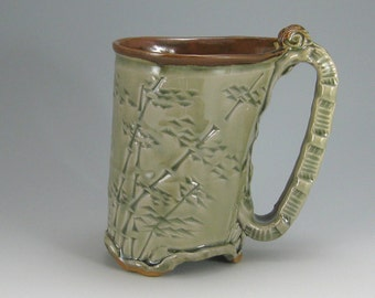 Buddha Bamboo Mug, Carved Stoneware Hand-built Mug (#36)