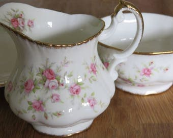 Vintage Milk Jug and Sugar Bowl Set Wedding Bridal Shower Victoriana Pink rose Fine Bone China