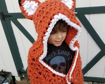 Hooded Fox Blanket, Fox Hooded Blanket, Fox Blanket, Hooded Blanket, Hooded Crochet Blanket, Crochet Fox Blanket, Crochet Hooded Fox Blanket