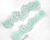 Wedding Garter Set, Mint Green Beaded Lace Garter Set, Vintage Mint Green Color Wedding Garter Belt