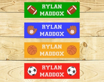 80 Custom Clothing Labels Iron on Labels Personalized Iron on Clothes Tags Daycare Name Labels School Camps - Uncut - Boy Sports