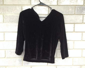 90s crushed black velvet long sleeve top